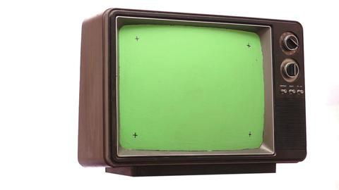 Retro TV Greenscreen Turning Slow Footage