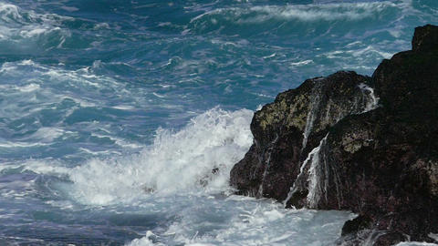 Waves Atlantic Ocean Breaking onto Rocks Footage