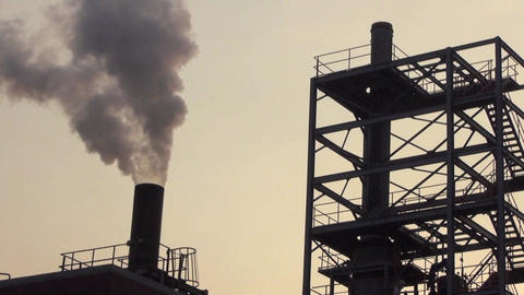 Pollution, smoke and steam discharged from a coal  Live Action
