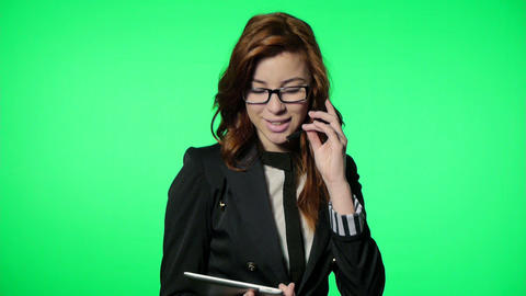 Business Woman Working At The Office (green Screen stock footage