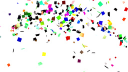 Volleys of confetti on white background Animation