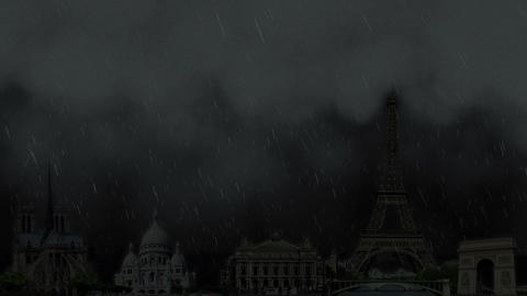 Thunderstorm with lightning in Paris France Animation