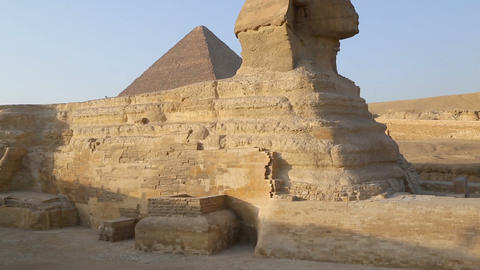 Sphinx and Cheops pyramid in Giza Cairo Egypt Footage