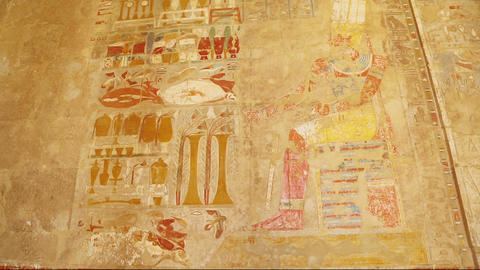 Ancient Egypt Color Images On Wall In Luxor - Tilt stock footage