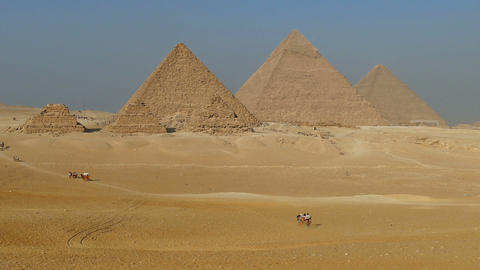 Great pyramids at Giza Cairo in Egypt Footage
