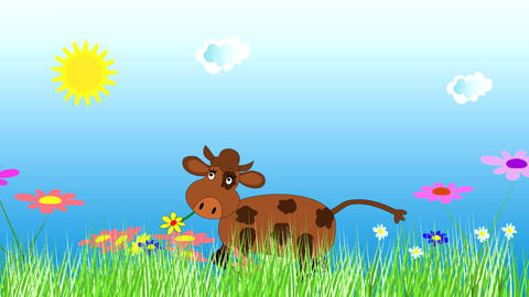Merry cow dancing and grazing on a green meadow Animation