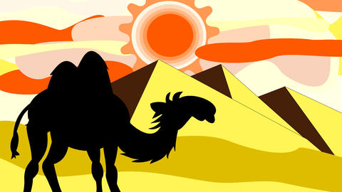 The black silhouette of a camel going through the  Animation