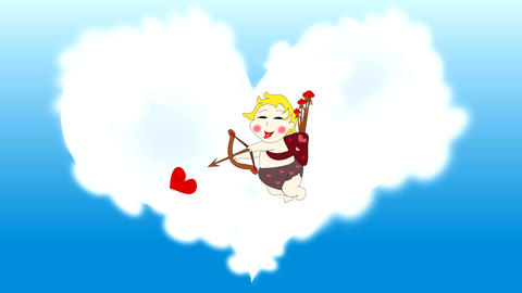 Playful funny cupid shoots red hearts in the sky w Animation