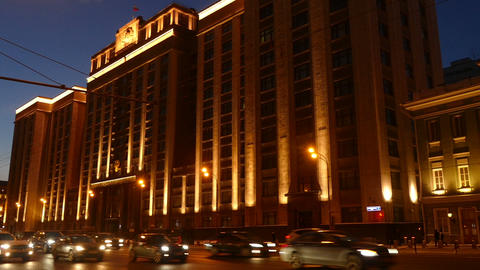 State Duma of the Russian illuminated - in the eve Footage