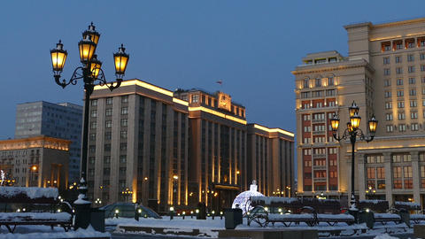Evening Moscow Duma, Manezh Square. Lights stock footage