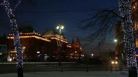 Evening Moscow with backlight (auto, trees, Museum Stock Video Footage