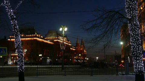 Evening Moscow with backlight (auto, trees, Museum Footage