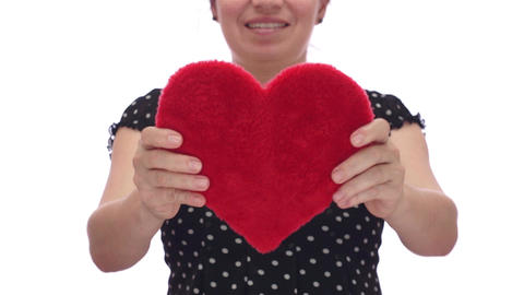 Woman Holds Out Her Heart Footage