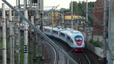 Modern High Speed Train Approaching stock footage