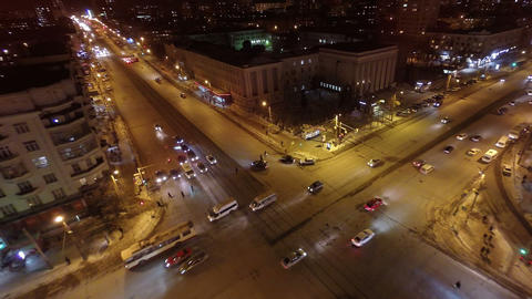 Crossroads in the city at night . Aerial shot Footage