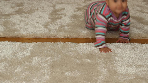 Baby Girl Crawling Footage