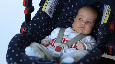 Baby on Child Safety Seat Footage