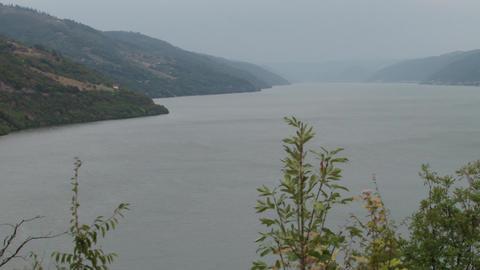 Banks of Large Danube River Footage