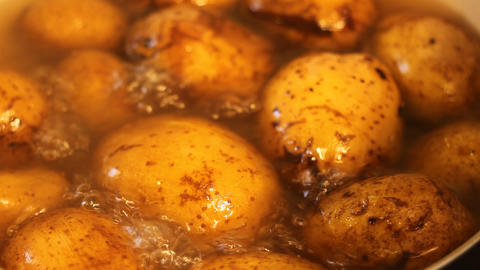 Boiling Potatoes Close Up Footage