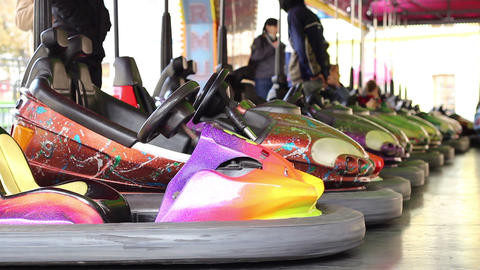 Bumper Cars At Amusement Park stock footage