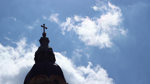 Church Cross Towards Sky Time Lapse Footage