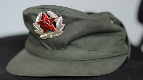 Communist Military Cap stock footage