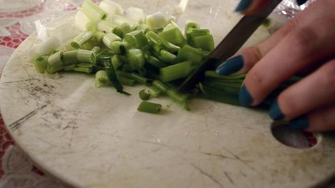 Cutting Green Fresh Onion Footage