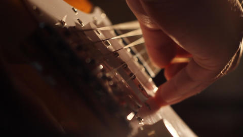 Electric Guitar Strings and Fingers Footage