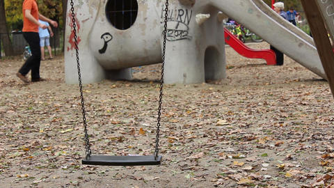 Empty Swing at Playgound Footage
