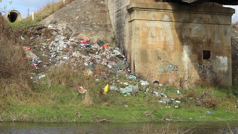 Garbage Along River Footage