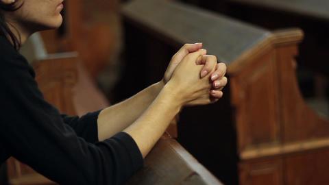 Girl Praying in Church Footage