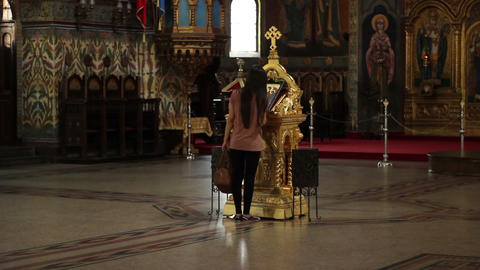Girl Worshiping in Orthodox Church Footage