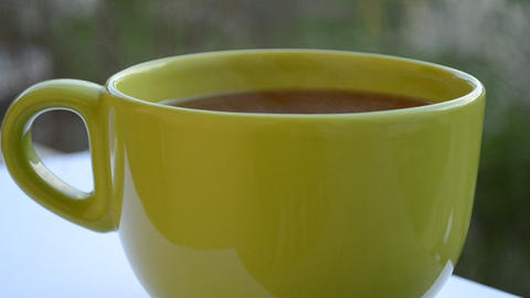 Hot Green Cup Of Tea stock footage