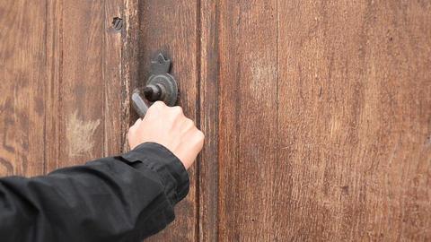 Locked Wooden Old Door Footage