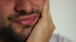 Man Complains Toothache stock footage