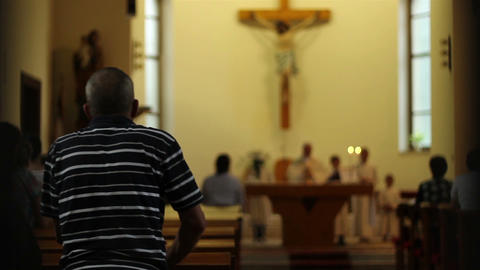 Parishioner Stand Up for Prayer Footage
