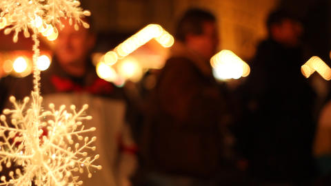 People At Christmas Fair stock footage