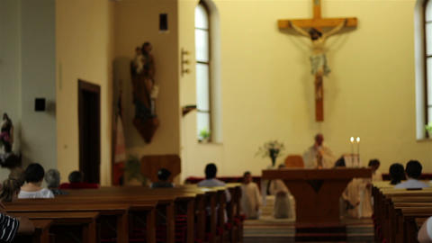 People in Benches Praying in Church Footage