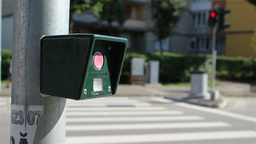 Pressing Pedestrian Traffic Light Button Footage