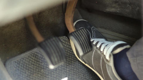 Speeding Car Pedals Close Up Footage