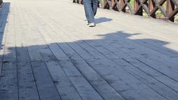 Steps on Wooden Bridge Footage