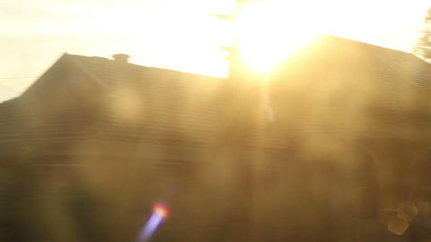 Sun Flashes on Train Window Footage