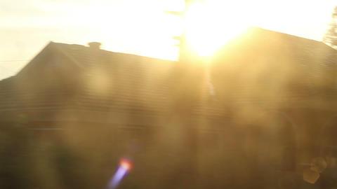 Sun Flashes on Train Window Footage