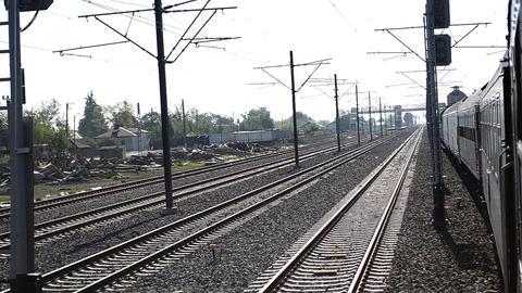 Train Passes Slowly Railroad Yard Footage