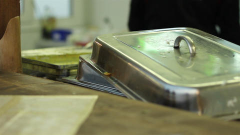 Trays For Food In The Kitchen stock footage
