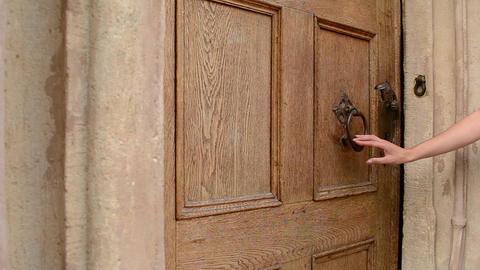 Woman Uses Door Knocker Footage