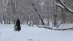 Woman with Baby Stroller on Snowy Park Footage