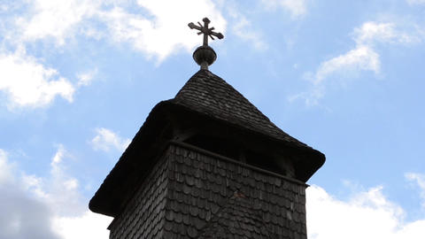 Wooden Church Cross Steeple Timelapse Footage