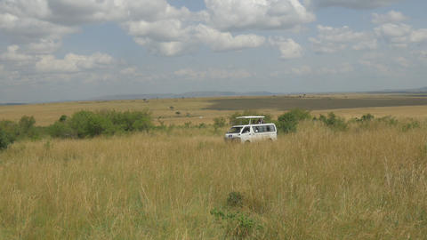 Jeep with tourists driving through safari in Kenya Footage