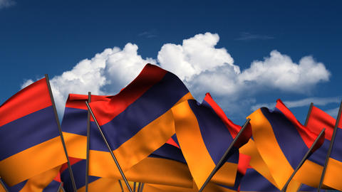 Waving Armenian Flags Animation